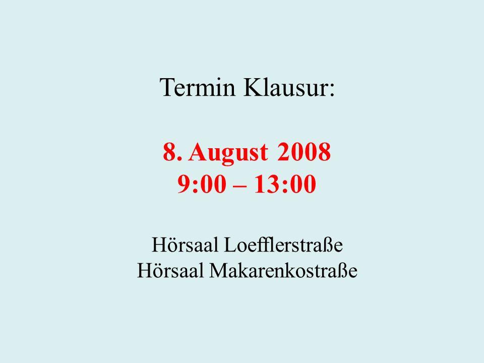 Termin Klausur: 8. August 2008 9:00 – 13:00 Hörsaal Loefflerstraße