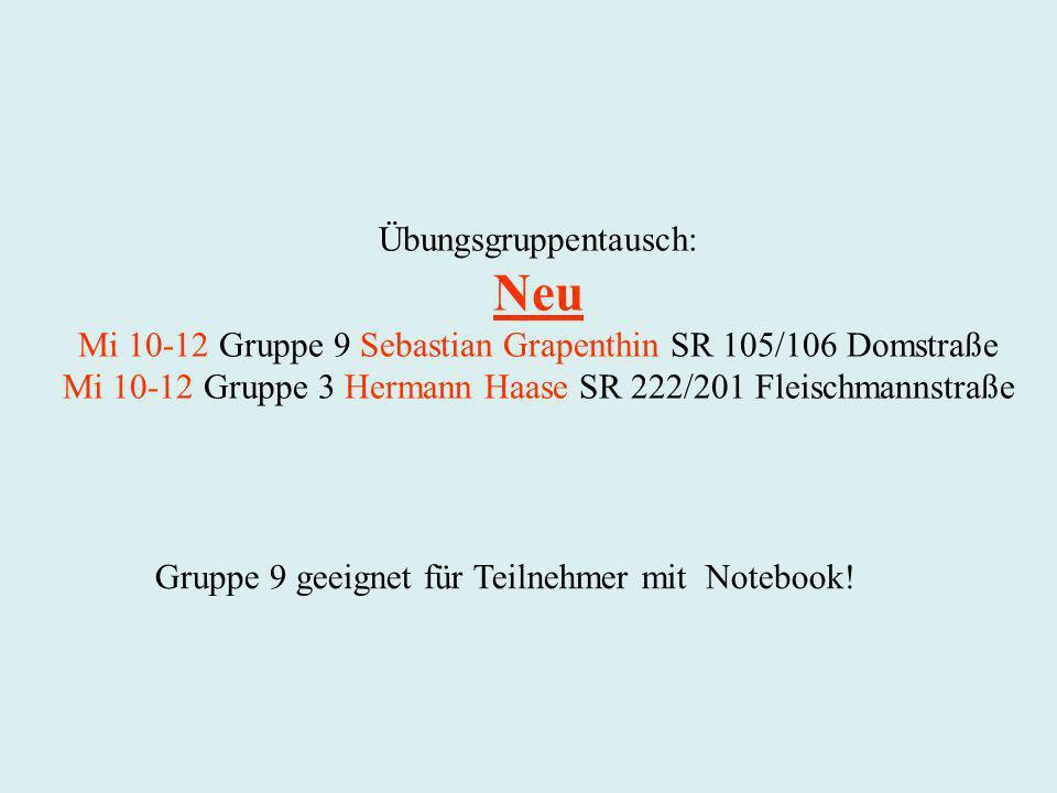 Neu Übungsgruppentausch: