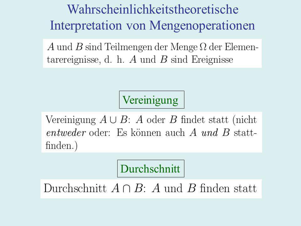 Wahrscheinlichkeitstheoretische Interpretation von Mengenoperationen