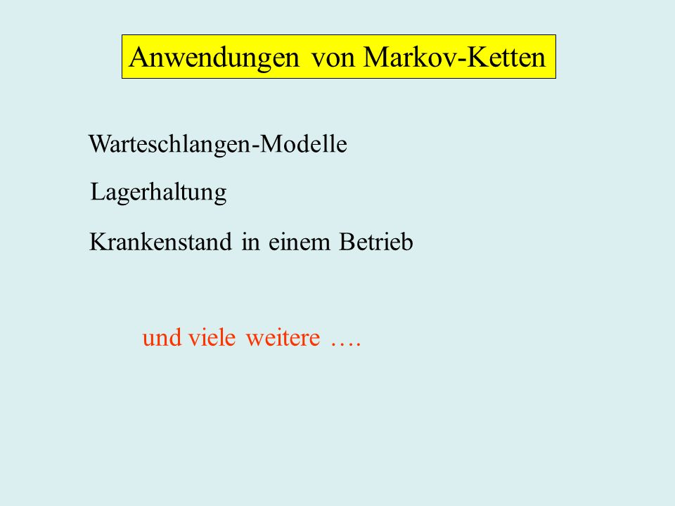 Anwendungen von Markov-Ketten