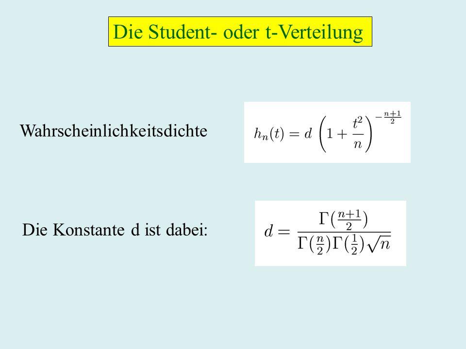 Die Student- oder t-Verteilung