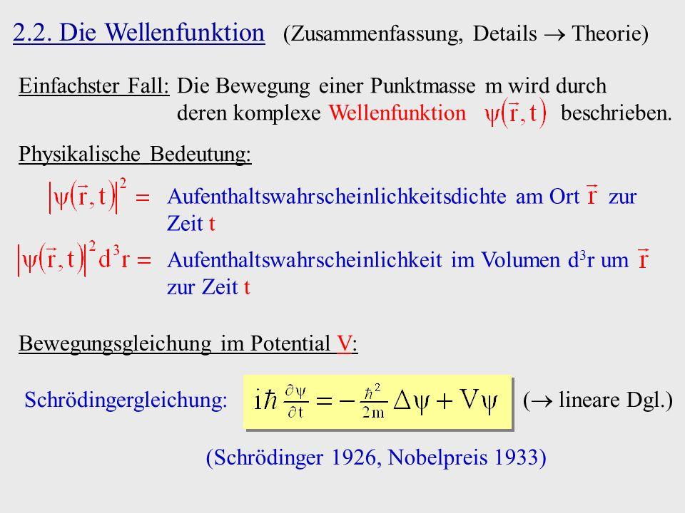 (Schrödinger 1926, Nobelpreis 1933)