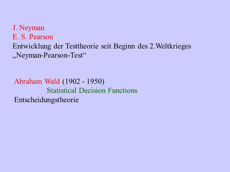 """J. Neyman E. S. Pearson. Entwicklung der Testtheorie seit Beginn des 2.Weltkrieges. """"Neyman-Pearson-Test"""