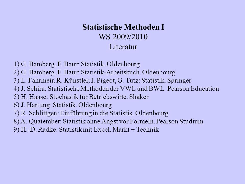 Statistische Methoden I