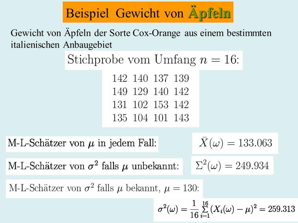 Beispiel Gewicht von Äpfeln