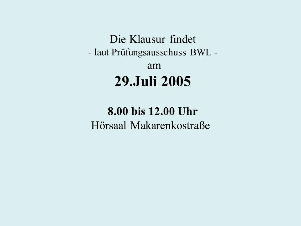 29.Juli 2005 Die Klausur findet am 8.00 bis 12.00 Uhr