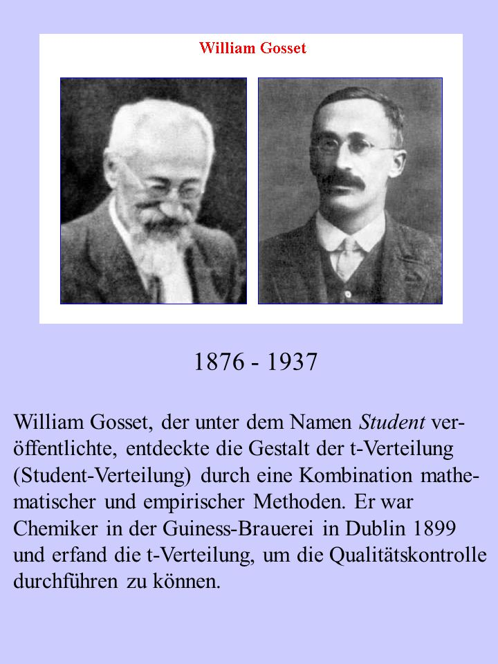 1876 - 1937 William Gosset, der unter dem Namen Student ver-