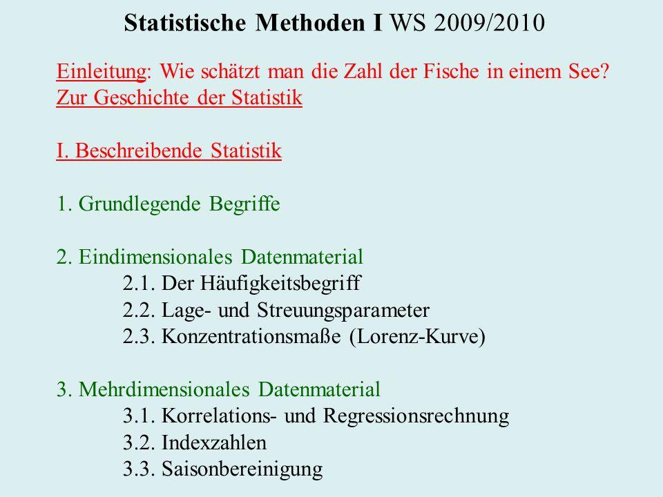 Statistische Methoden I WS 2009/2010