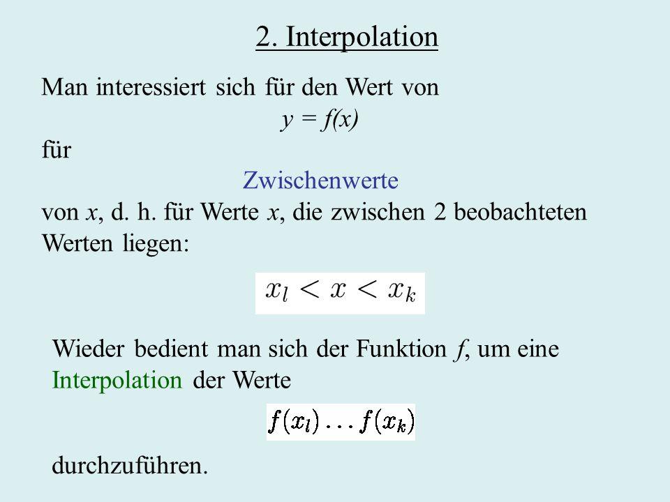 2. Interpolation Man interessiert sich für den Wert von y = f(x) für