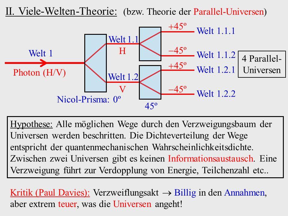 II. Viele-Welten-Theorie: (bzw. Theorie der Parallel-Universen)