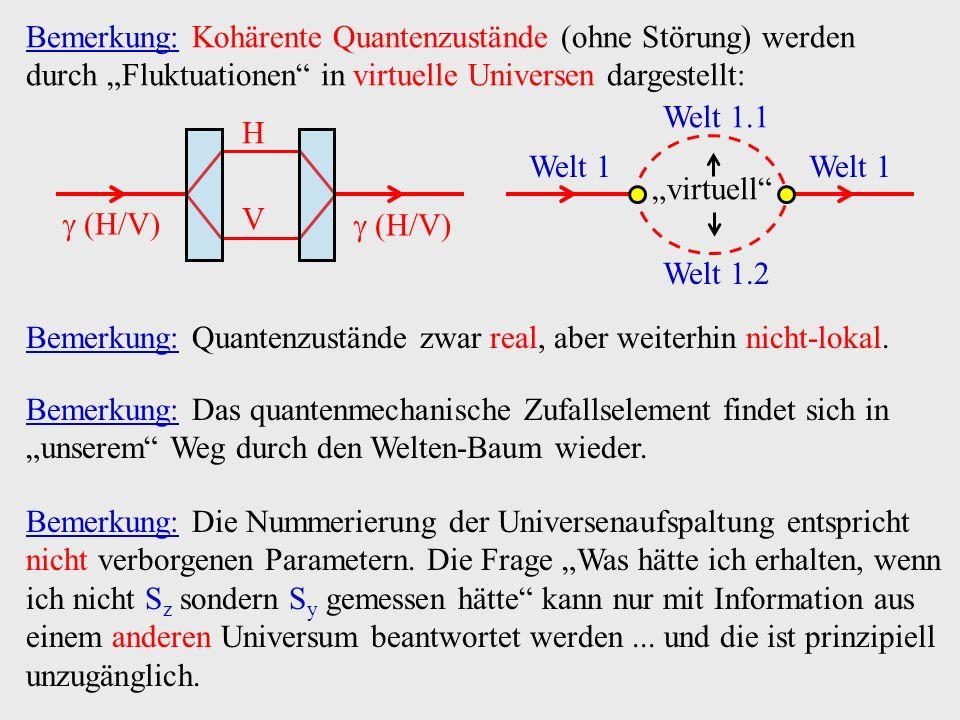 """Bemerkung: Kohärente Quantenzustände (ohne Störung) werden durch """"Fluktuationen in virtuelle Universen dargestellt:"""