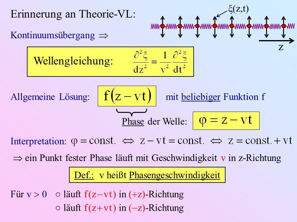 Def.: v heißt Phasengeschwindigkeit