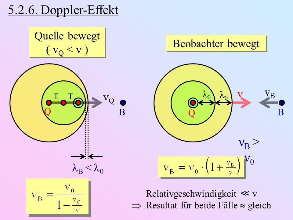 Relativgeschwindigkeit ≪ v  Resultat für beide Fälle  gleich