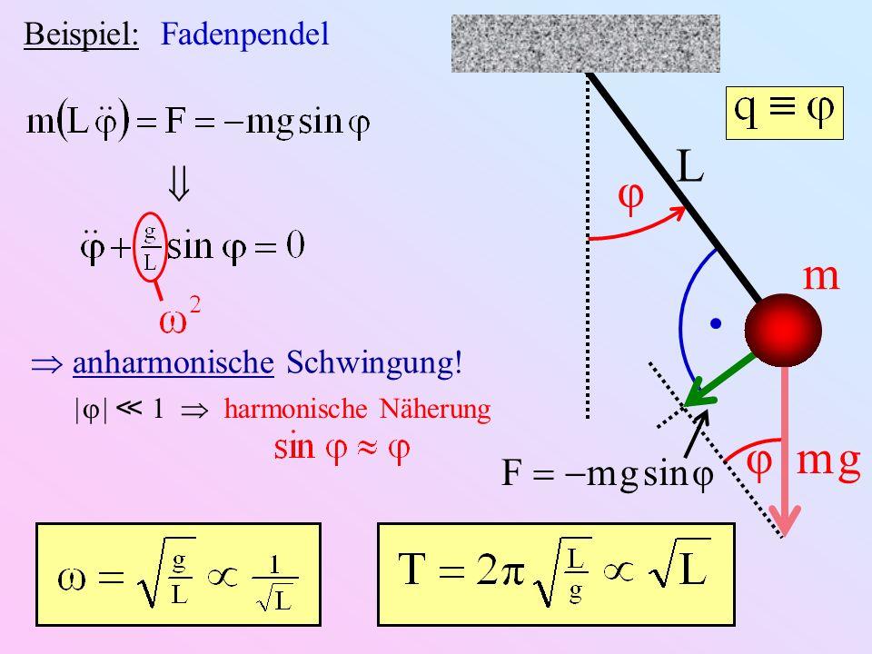 L φ m φ m g  F-m g sin φ Beispiel: Fadenpendel