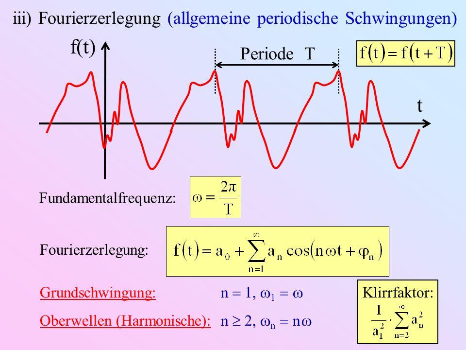 f(t) t iii) Fourierzerlegung (allgemeine periodische Schwingungen)