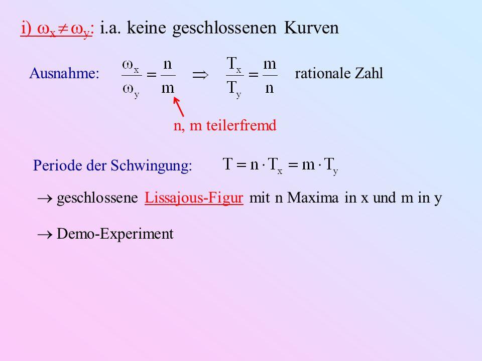 i) x  y: i.a. keine geschlossenen Kurven
