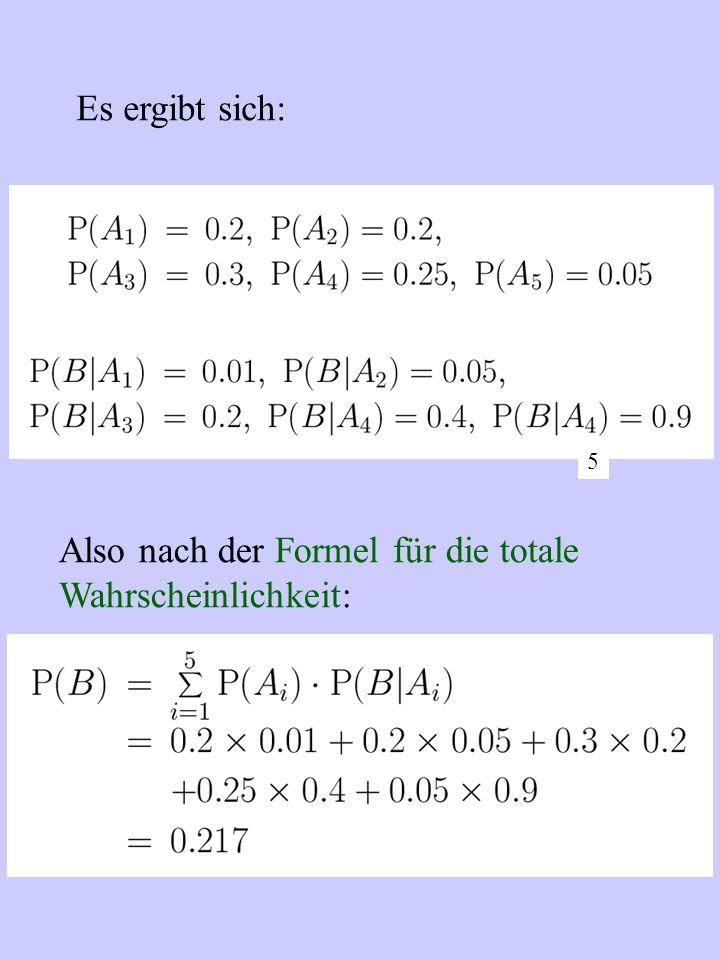 Also nach der Formel für die totale Wahrscheinlichkeit: