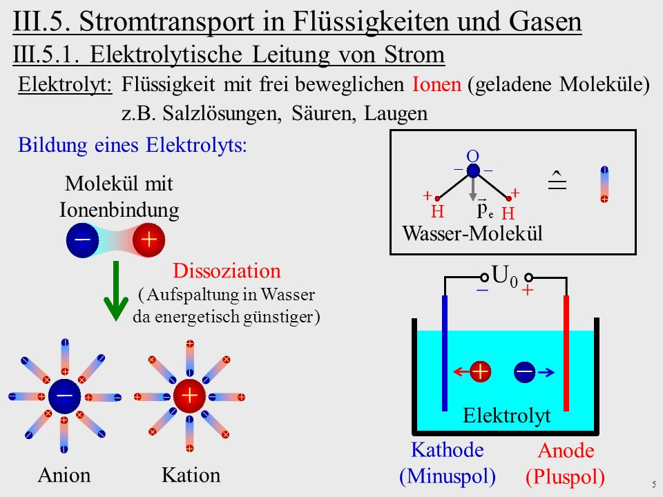 III.5. Stromtransport in Flüssigkeiten und Gasen