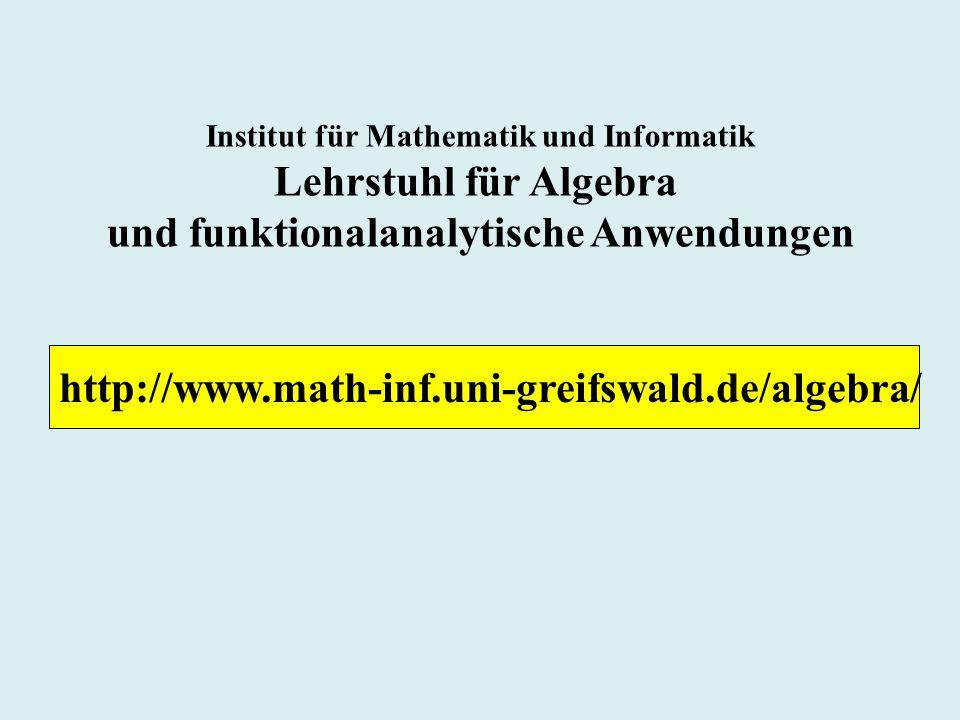 Lehrstuhl für Algebra und funktionalanalytische Anwendungen