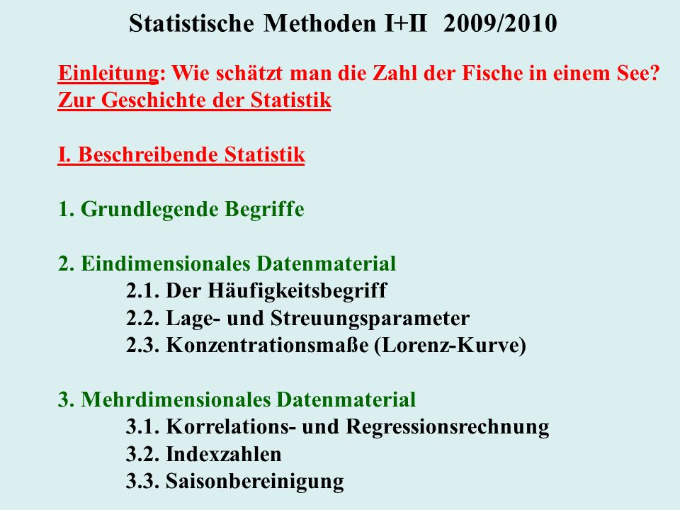 Statistische Methoden I+II 2009/2010