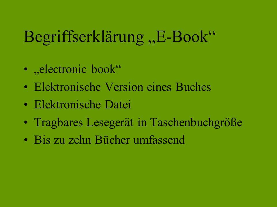 """Begriffserklärung """"E-Book"""