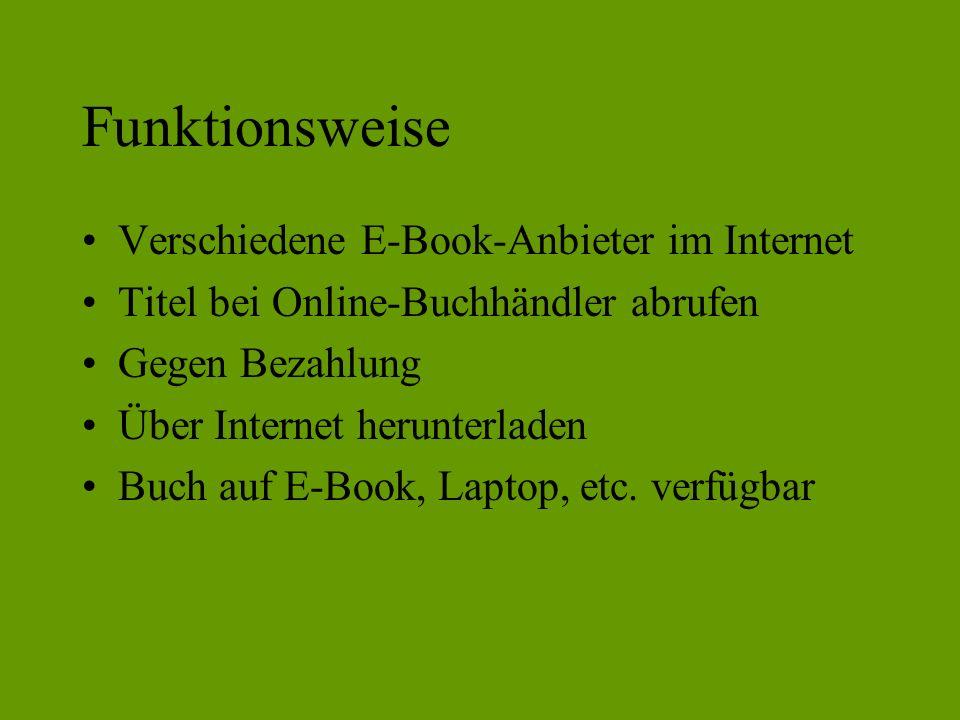 Funktionsweise Verschiedene E-Book-Anbieter im Internet