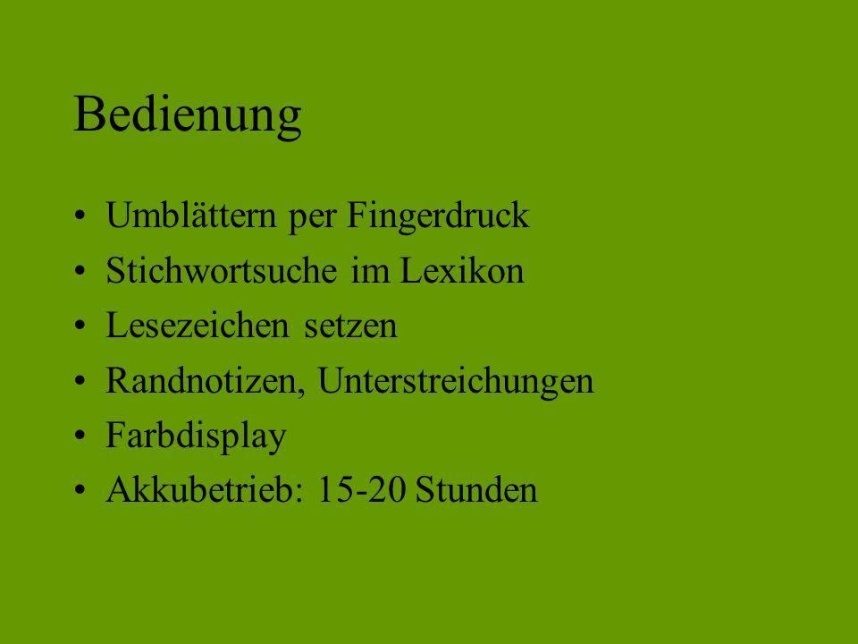 Bedienung Umblättern per Fingerdruck Stichwortsuche im Lexikon