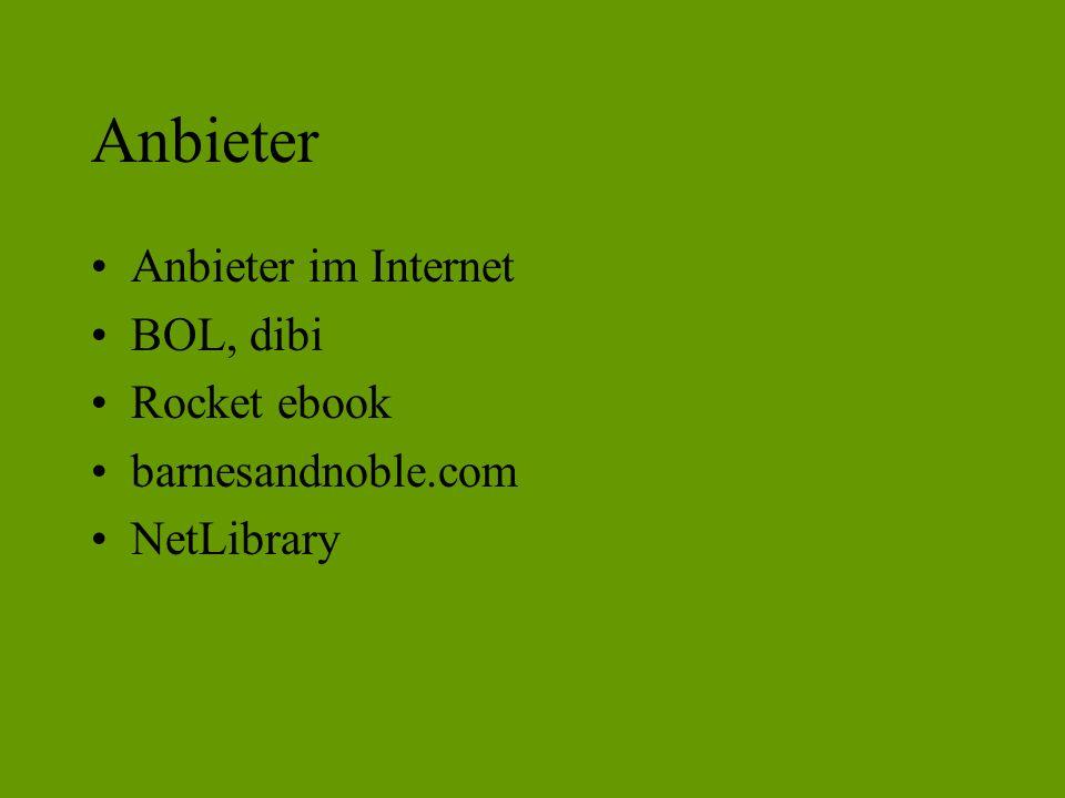 Anbieter Anbieter im Internet BOL, dibi Rocket ebook