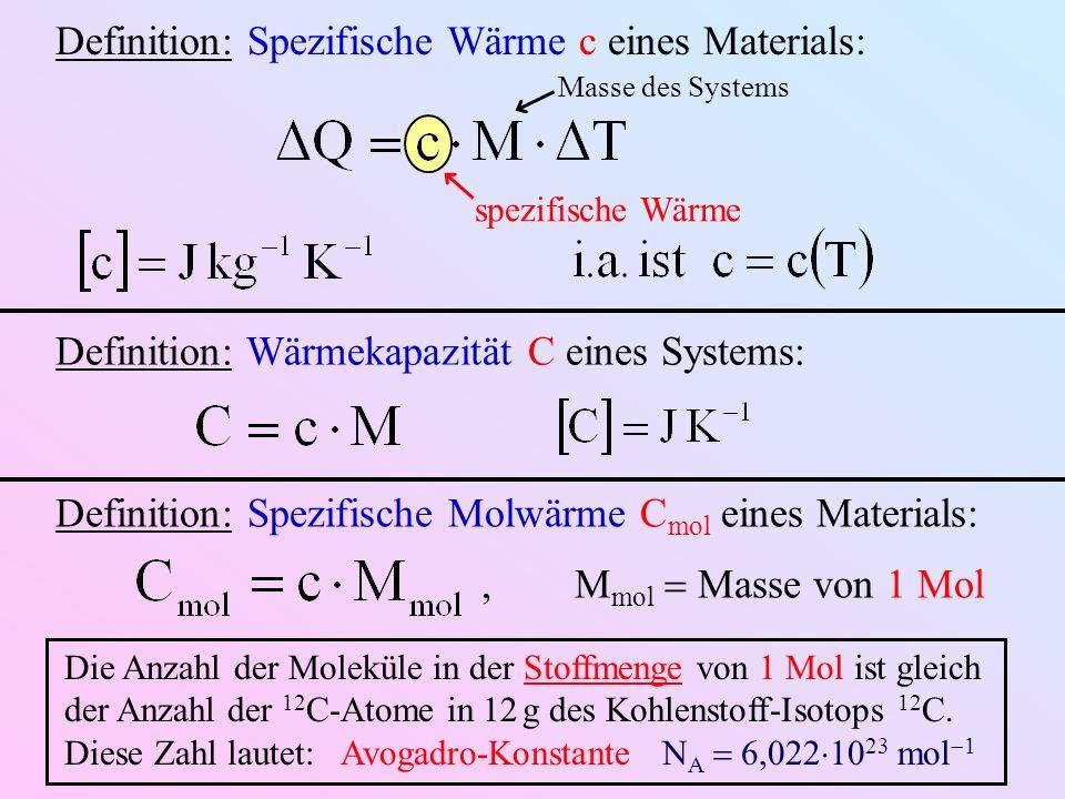 Definition: Spezifische Wärme c eines Materials: