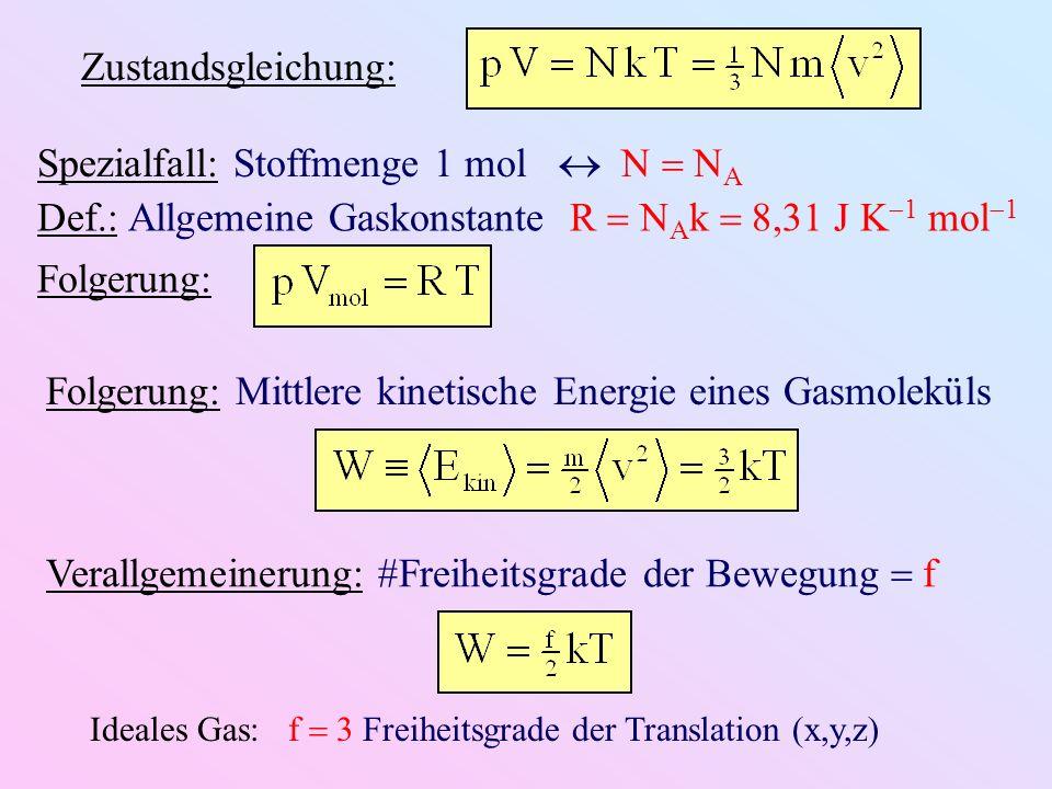 Spezialfall: Stoffmenge 1 mol  N  NA