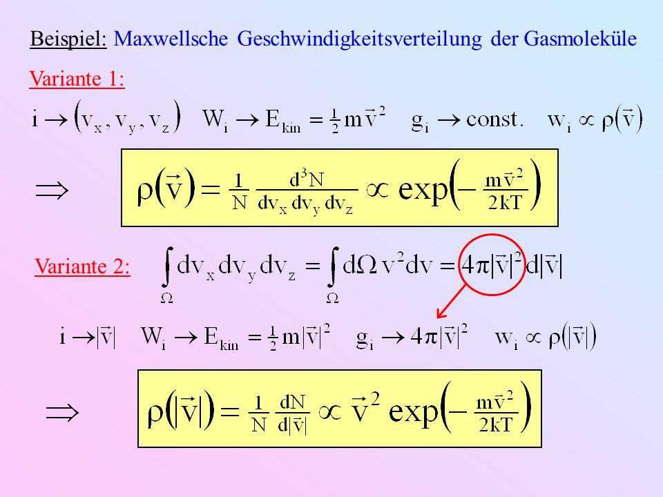 Beispiel: Maxwellsche Geschwindigkeitsverteilung der Gasmoleküle