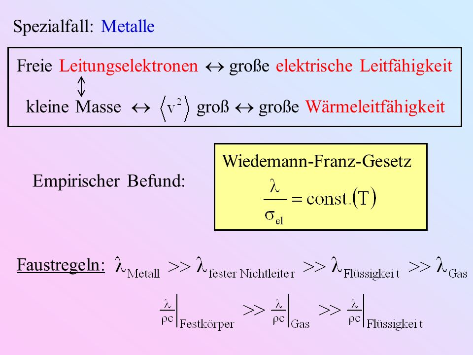 Spezialfall: Metalle Freie Leitungselektronen  große elektrische Leitfähigkeit. kleine Masse  groß  große Wärmeleitfähigkeit.