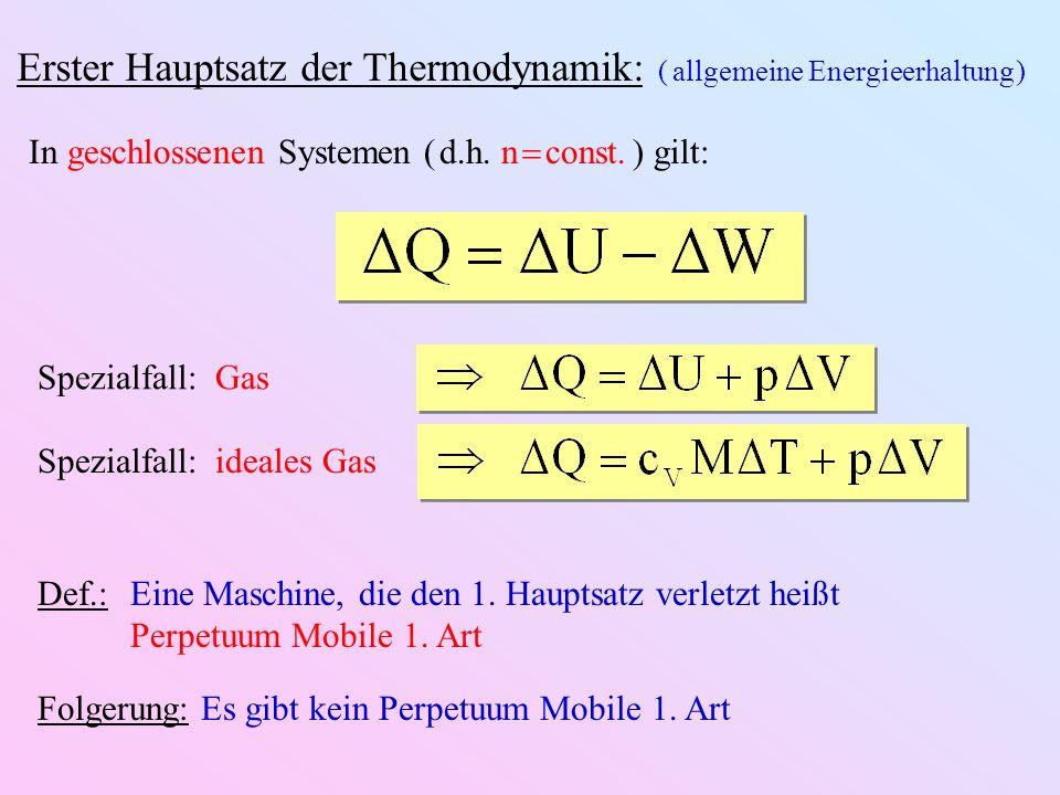 Erster Hauptsatz der Thermodynamik: ( allgemeine Energieerhaltung )