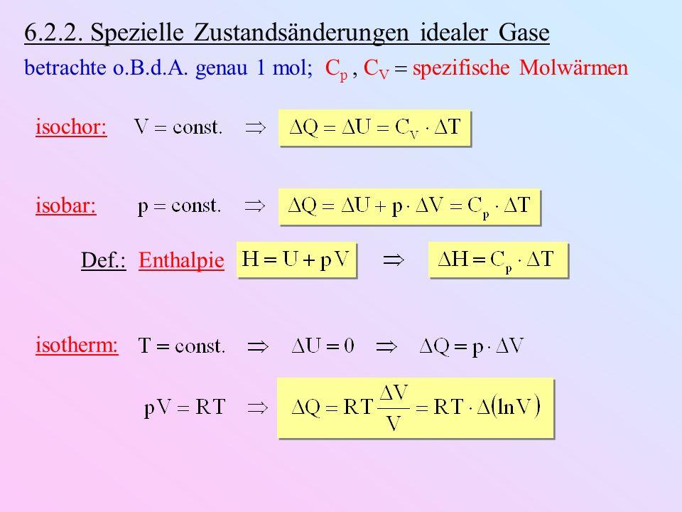 6.2.2. Spezielle Zustandsänderungen idealer Gase