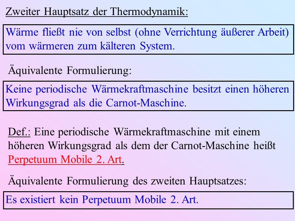 Zweiter Hauptsatz der Thermodynamik: