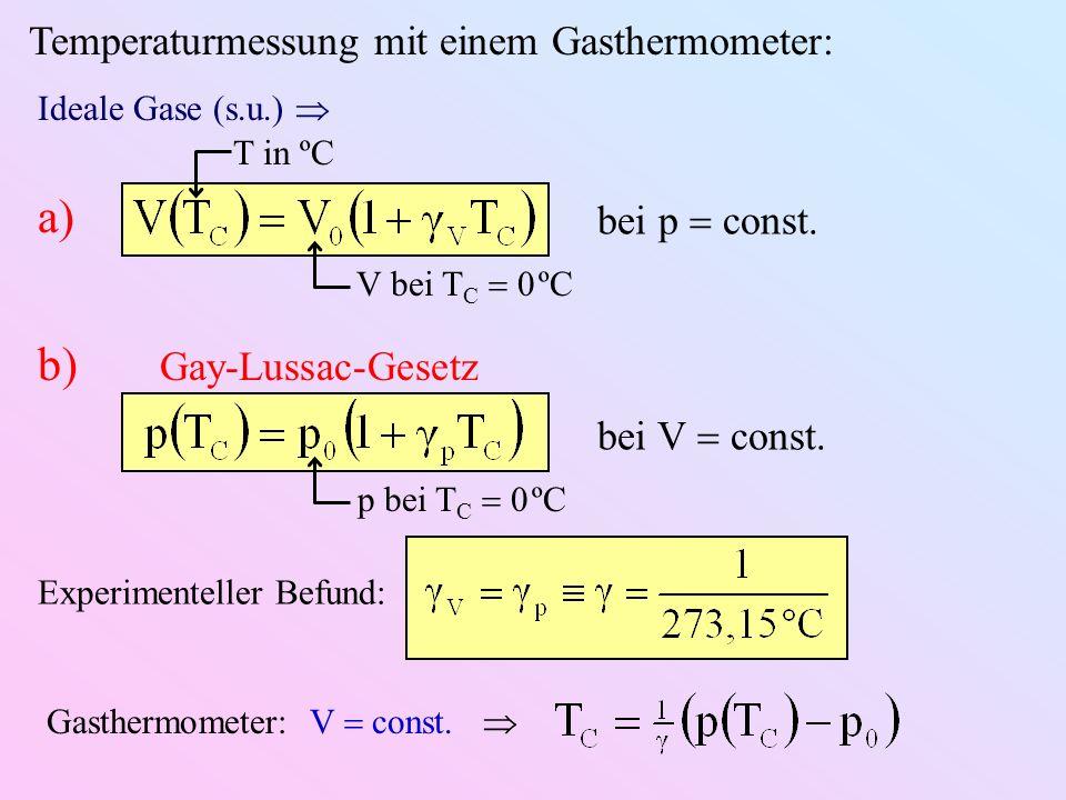 a) b) Gay-Lussac-Gesetz Temperaturmessung mit einem Gasthermometer: