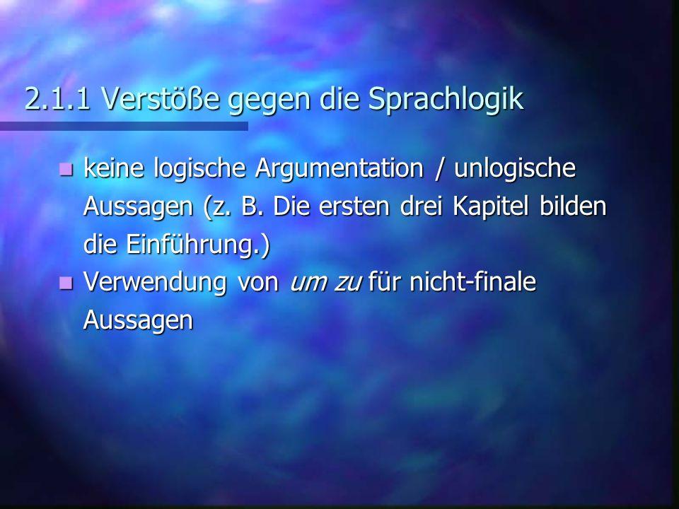 2.1.1 Verstöße gegen die Sprachlogik