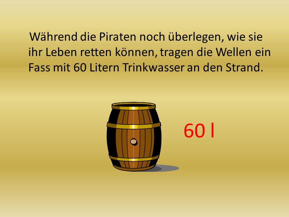Während die Piraten noch überlegen, wie sie ihr Leben retten können, tragen die Wellen ein Fass mit 60 Litern Trinkwasser an den Strand.