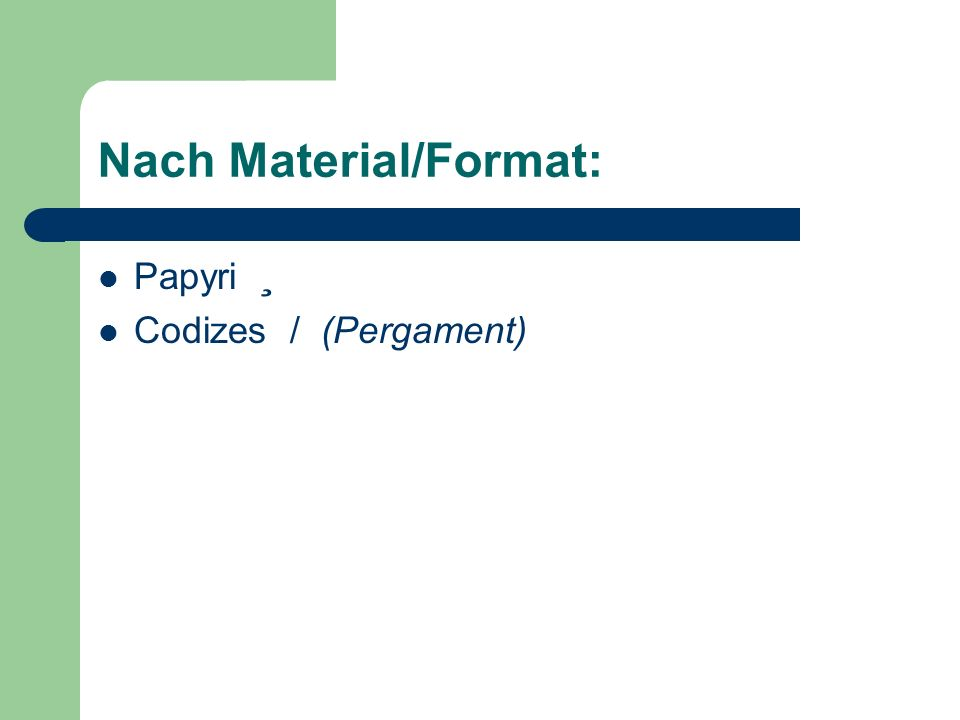 Nach Material/Format: