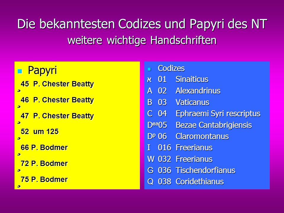 Die bekanntesten Codizes und Papyri des NT weitere wichtige Handschriften