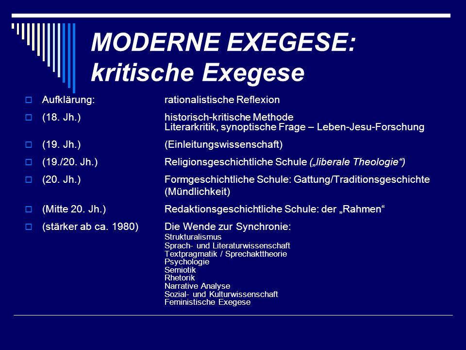MODERNE EXEGESE: kritische Exegese