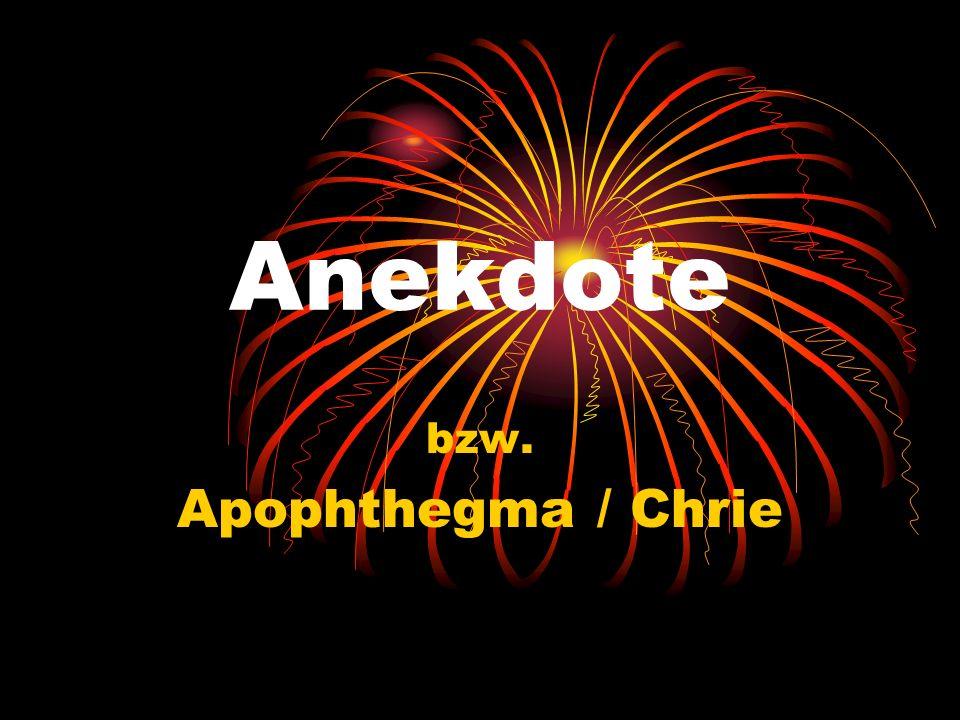 bzw. Apophthegma / Chrie