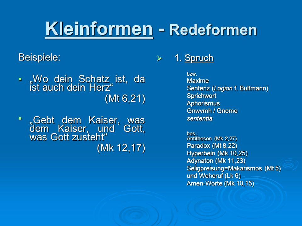 Kleinformen - Redeformen