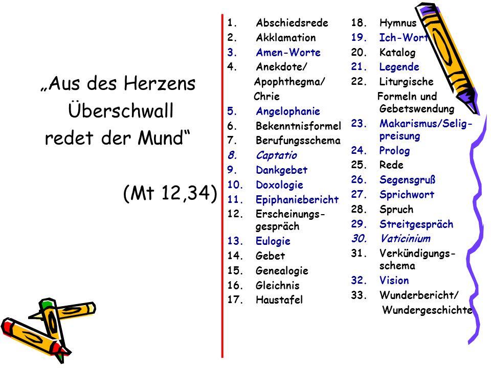 """""""Aus des Herzens Überschwall redet der Mund (Mt 12,34) Abschiedsrede"""