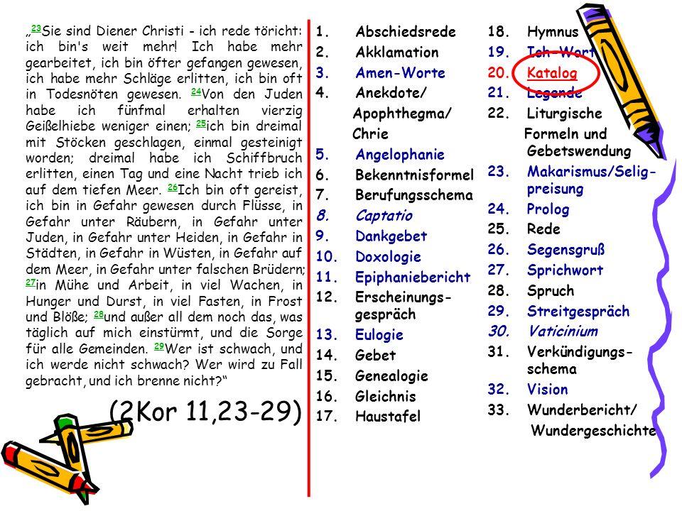 (2Kor 11,23-29) Abschiedsrede Akklamation Amen-Worte Anekdote/