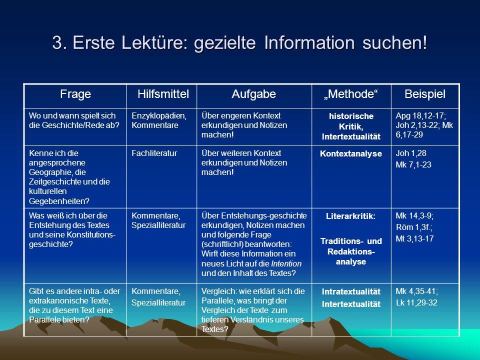 3. Erste Lektüre: gezielte Information suchen!
