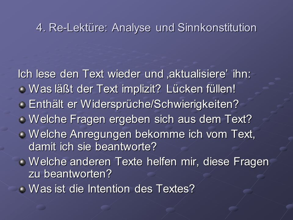 4. Re-Lektüre: Analyse und Sinnkonstitution