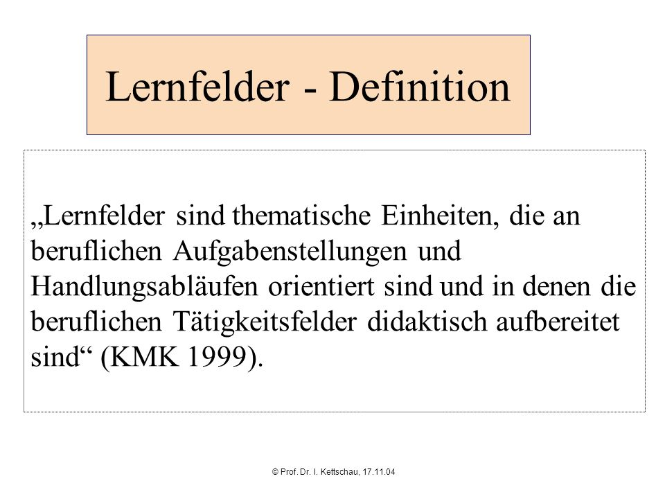 Lernfelder - Definition