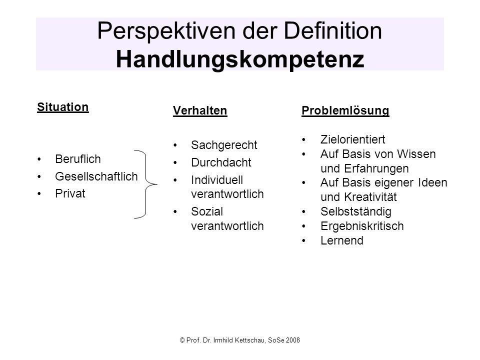 Perspektiven der Definition Handlungskompetenz