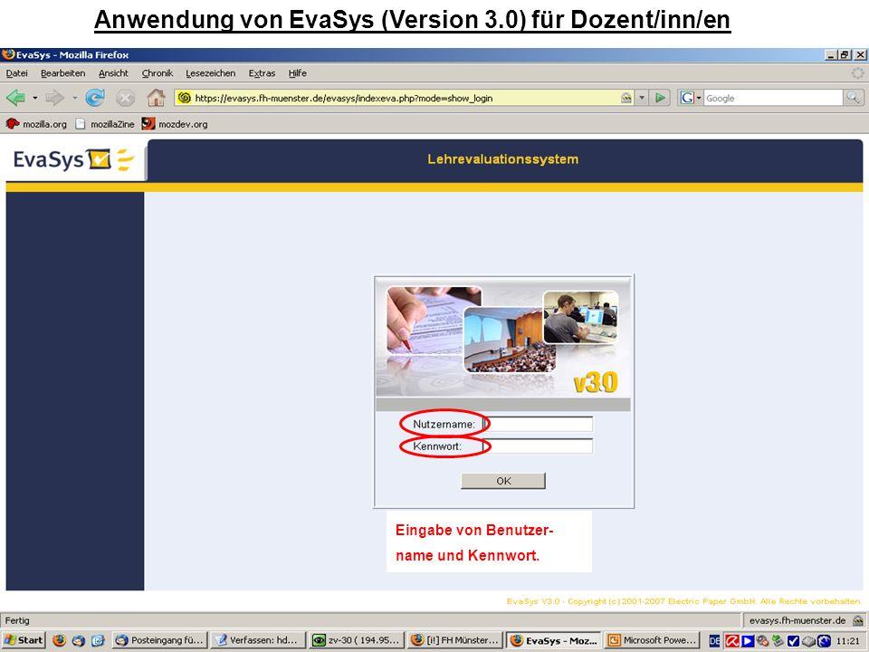 Anwendung von EvaSys (Version 3.0) für Dozent/inn/en